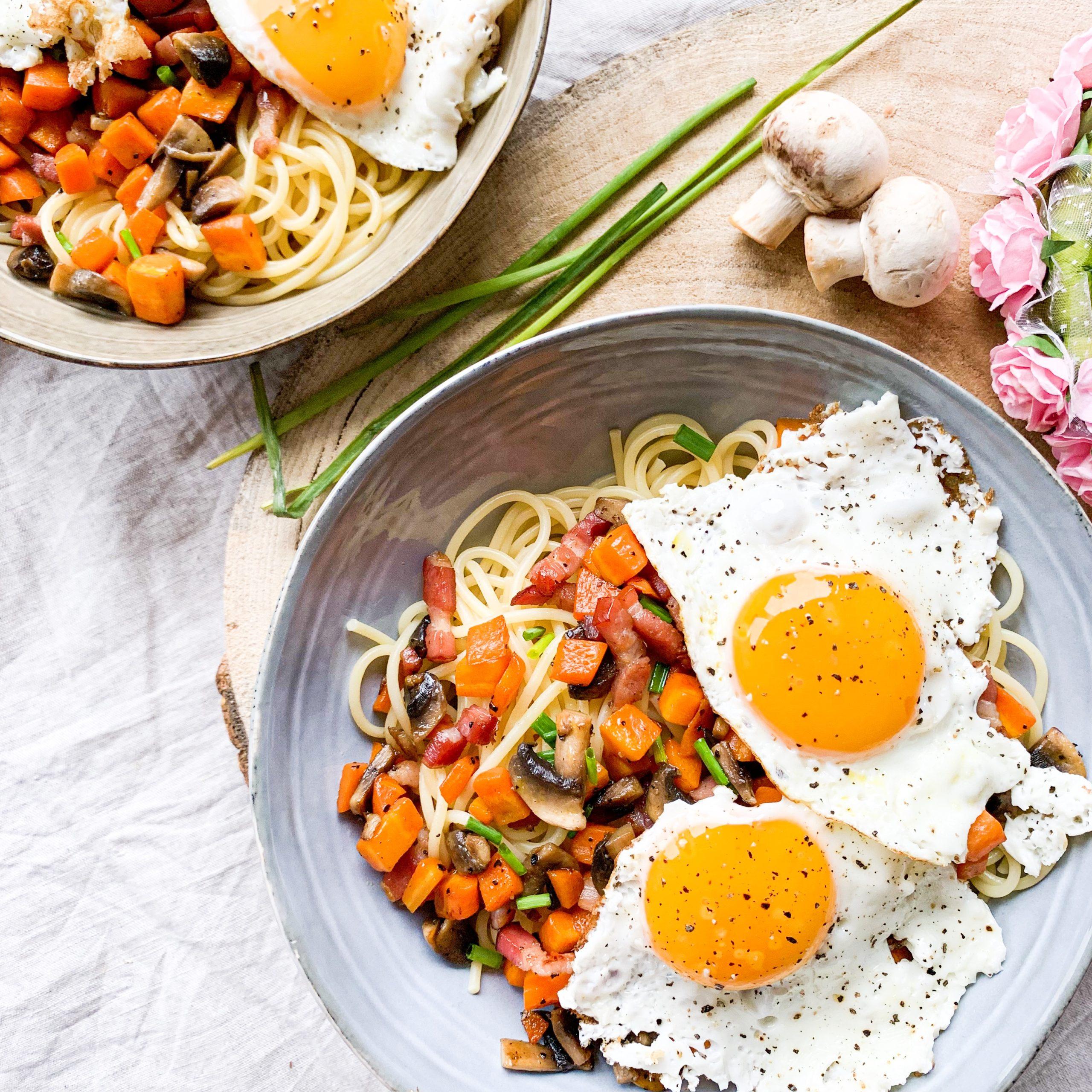 Spaghettis et sa poêlée carottes / lardons
