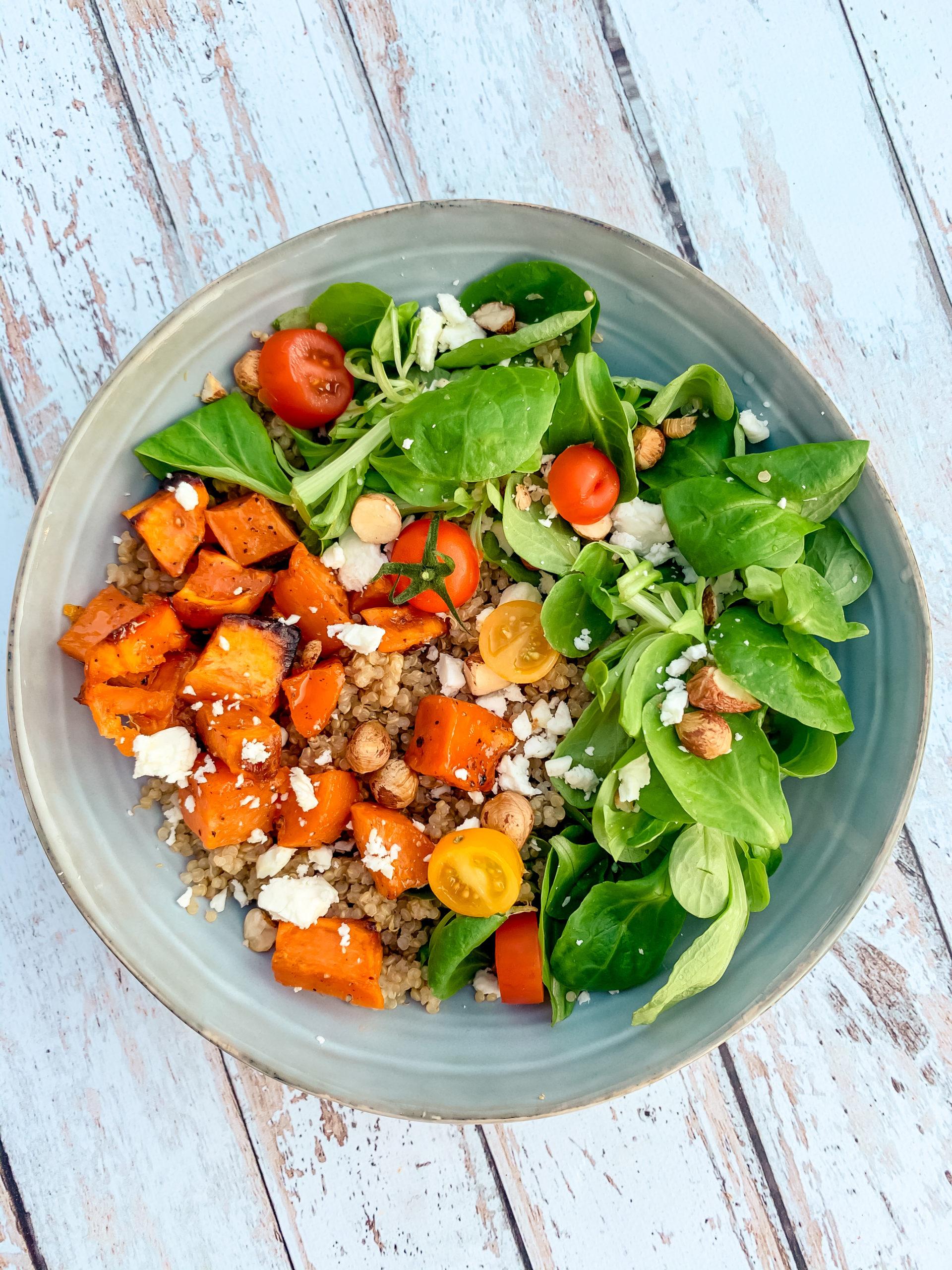 Salade de quinoa et patates douces roties