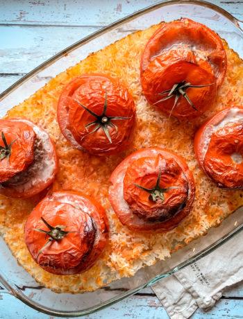 Riz et tomates farcies au four