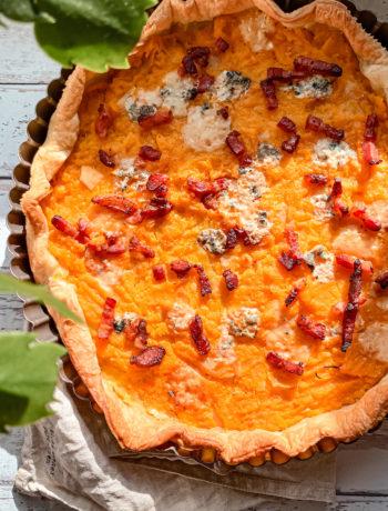 Tarte butternut lardon roquefort