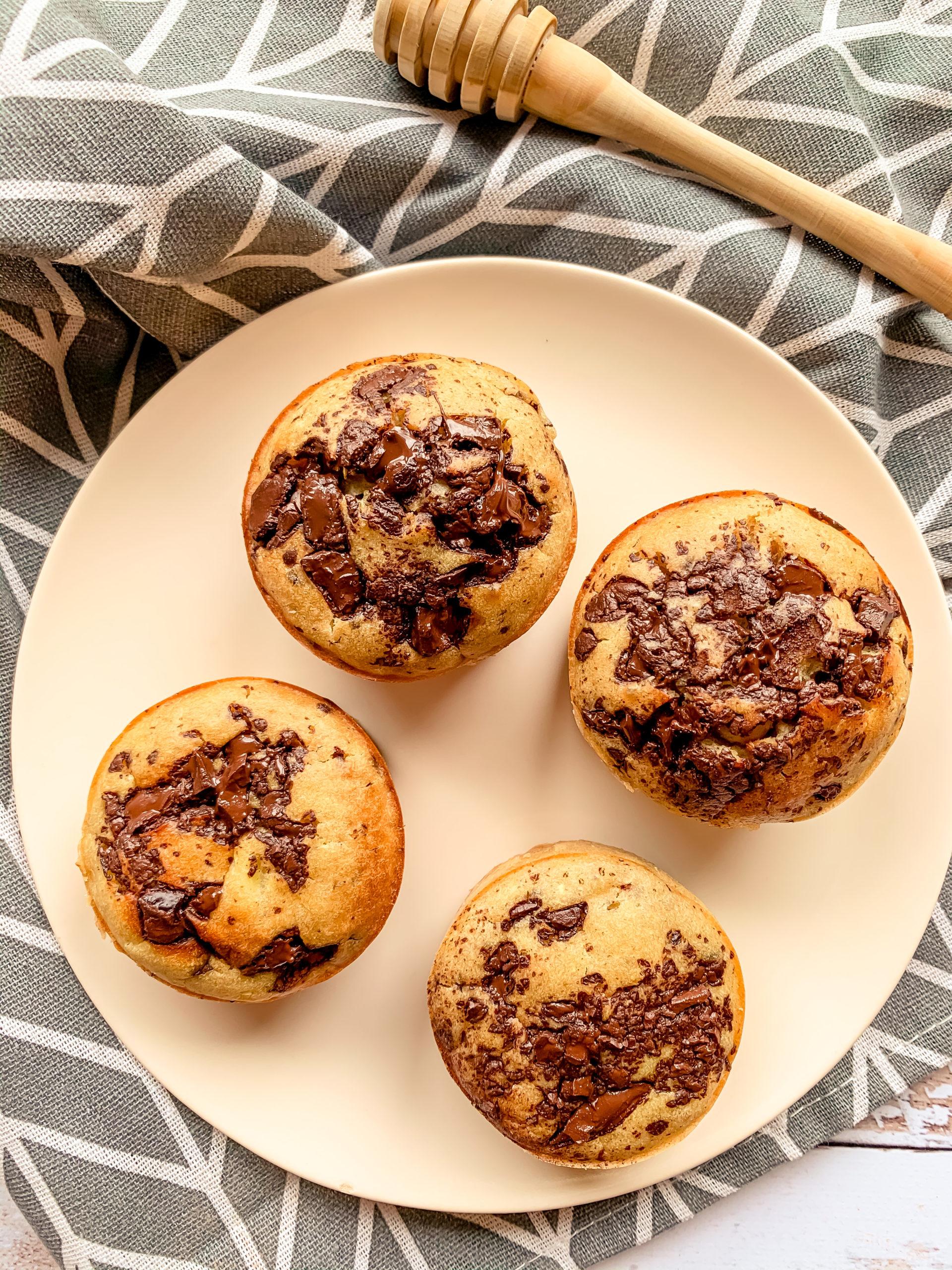 Muffins courgette, pépites de chocolat et miel