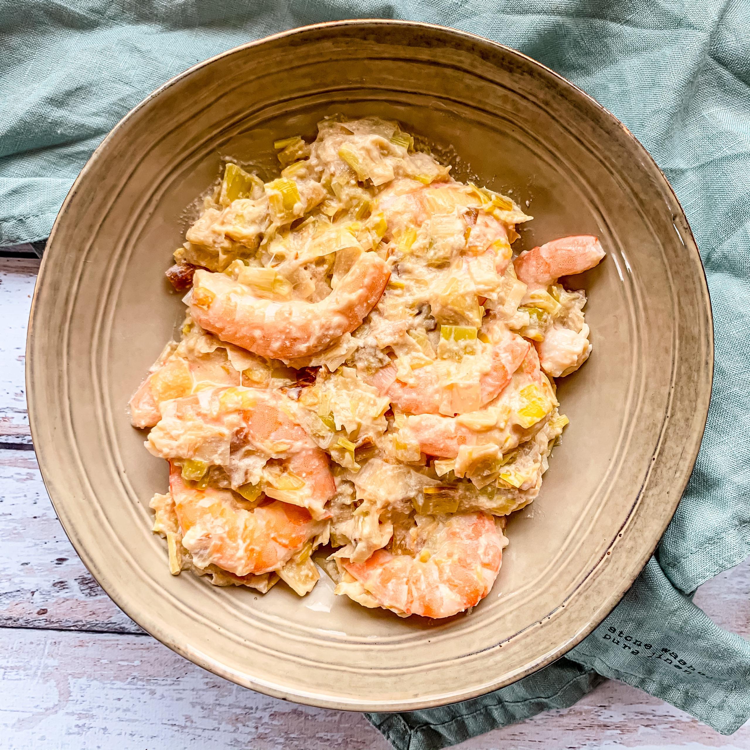 Fondue de poireaux et crevettes
