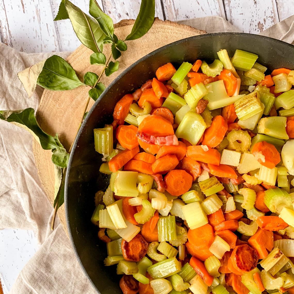 Poêlée de carottes, cèleri et lardons